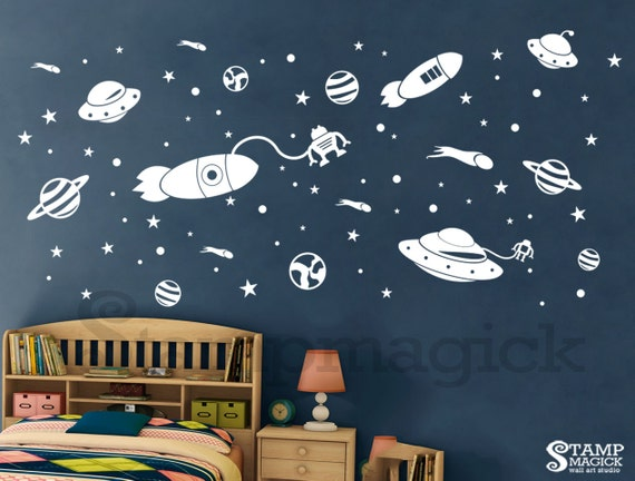 Outer Space Wall Decal - Rocket Vinyl Wall Art Decor Childrens Room ...