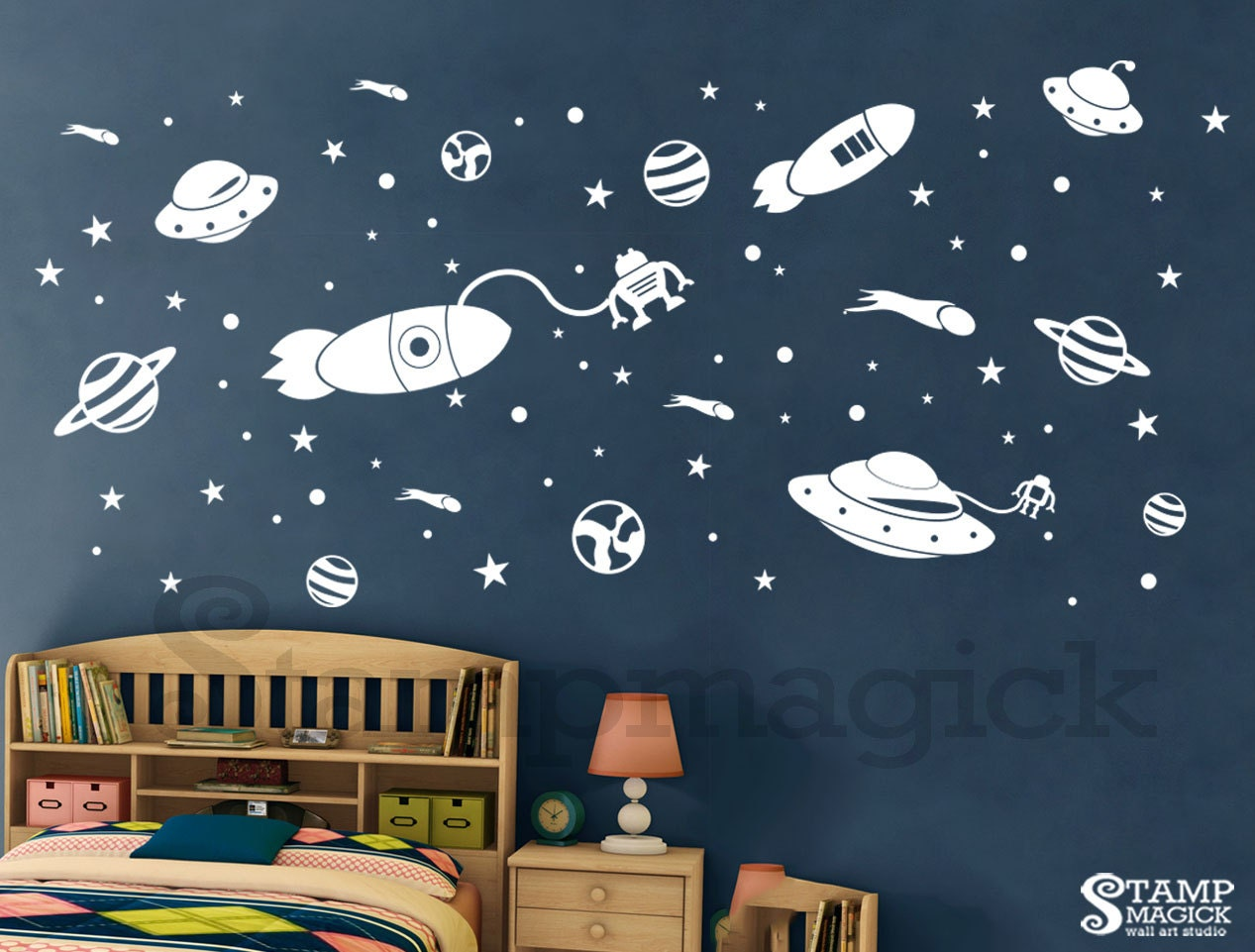 Outer space wall decal rocket planets vinyl stickers for for Outer space vinyl wall decals