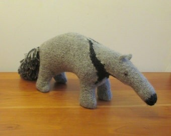 Anteater Stuffed Animal, Handknit Plush Anteater, Handmade Stuffed Animals