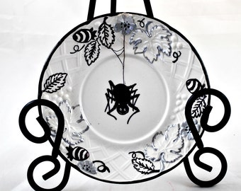 Decorative Saucer  - Inked Original Art - Spider - Vintage Mikasa Plate - Dark Home Decor - Gothic Gifts
