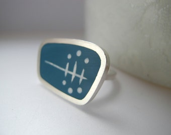 Teal Blue Statement Ring - Modern Silver & Resin Ring - Atomic  Ring - Graphico Landscape Ring