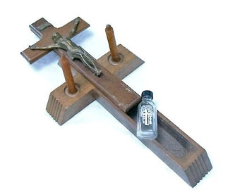 Vintage Last Rites Crucifix with Holy Water Vial and Candles