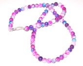 purple, pink, and blue glass beaded necklace