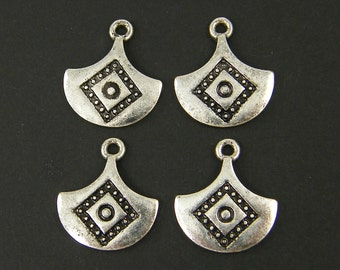 Tribal Antique Silver Earring Dangle with Geometric Markings Earring Findings Boho Gypsy Scale Charms |S18-4|4