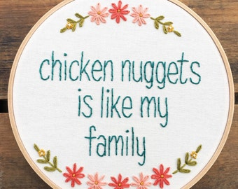 Chicken Nuggets embroidery hoop art