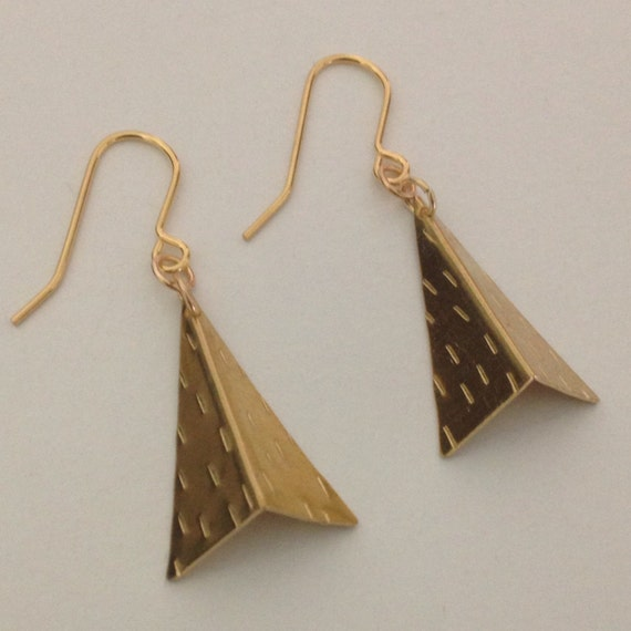 Folded Triangle Earrings in Brass - Golden - Gold - Geometric - Modern - Minimalist - Festival - Frida Kahlo - Industrial - Tribal