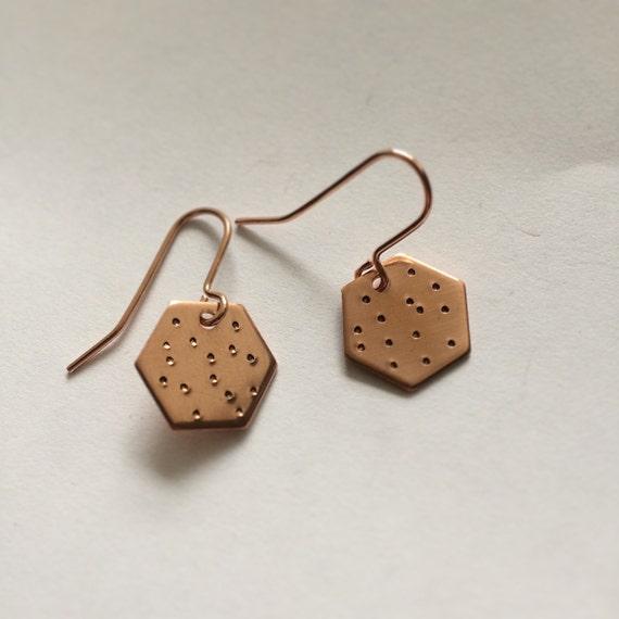 Hexagonal Copper Earrings - Spotty - Geometric - Modern - Simple - Dots