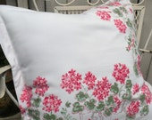 Pillow sham Vintage tablecloth Farmhouse Vintage tablecloth Summer Porch Pink geraniums RDT ECS