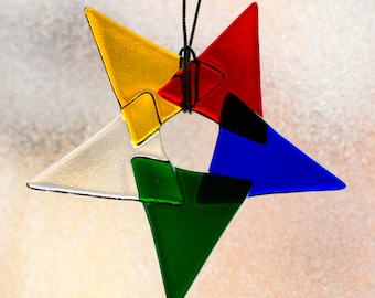 Fused Glass Suncatcher - Rainbow Star