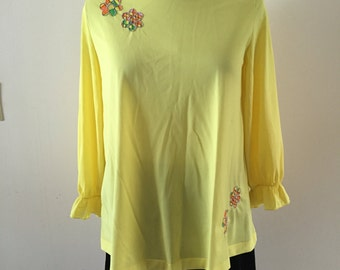 Yellow Tunic 1970s Flower Power Size M/L