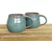 Reserved for Patricia - Pottery Mugs - Sea Mist - Set of 2