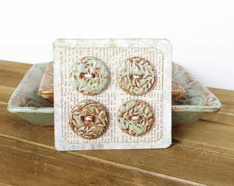 Round Textured Stoneware Buttons in Pistachio Shino Glaze - Set of 4