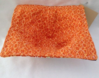 Bowl Potholder Cozy Microwave Hot Pad Fabric Bowl Orange Floral Prints  Teacher Gift Great For Hot Or Cold Food