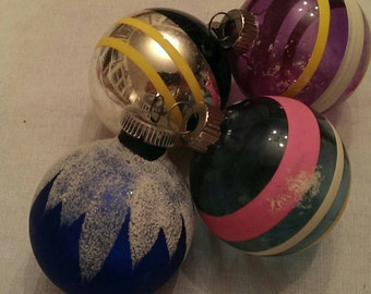 Set of 4 Vintage Christmas Ornaments Shiny Brite and 1 West Germany
