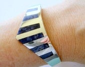 Taxco Hinged Sterling and Sodalite Bracelet