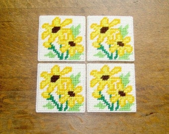 Black Eyed Susan Floral Coasters. Flower Beverage Coasters. Floral Drink Coasters. Black Eyed Susan Floral Design Mug Rugs. Ready-to-Ship