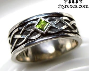 Mens Celtic Soul Ring .925 Sterling Silver Green Peridot Wedding Band Size 11.75