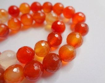 "10mm Genuine Carnelian Faceted Round Gemstone Beads - 15"" Strand"