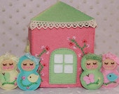 RESERVED for -BigRedAngel- Matryoshka Dolls in Their Happy Home - Pastel Themed Felt House and Tiny Stuffed Dolls