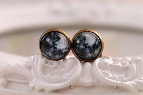 Moon  clip on earrings pretty cute black black white astronomy Wicca