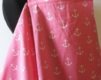Nursing Cover- Anchors Pink