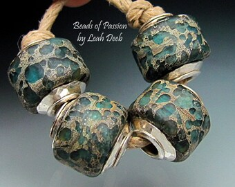 Artisan Glass BHB Beads of Passion Lampwork SRA - 4 Rich Organic Sterling Capped