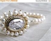 27% Off Sale Bridal Bracelet CZ Pearl Sterling Silver Bracelet GB2 Pearl Jewelry