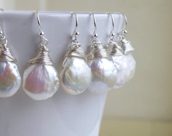 SALE 27% Off Coin Pearl Wire Wrapped Sterling Dangle Earrings GE5