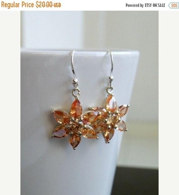 Mega SALE Champagne CZ Sterling Silver Floral Dangle Earrings EE4