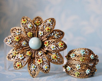 Vintage 1960s ART Flower Brooch and Earrings Set Filigree Layered Ornate Gold Tone Metal with Blue and Green Enamel