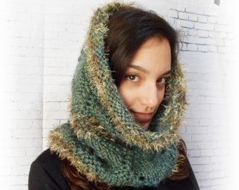 Forest cowl snood hood scarf, hand knitted neck cozy, bulky chunky thick yarn, handknitted gift, nature rustic acorn green fluffy vegan wool