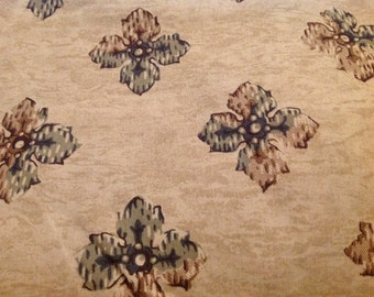 4 Yards of Vintage Tan and Grey Floral Print Cotton Fabric