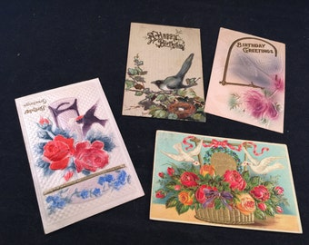 Set of 4 Antique/Vintage Early 1900's Happy Birthday Postcards (Great Old Handwriting)