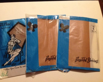 Set of 3 Vintage New Packages of Beige Size 10 1/2 Nylon Ladies' Hosiery