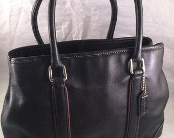 Vintage Ladies' Black Leather Coach Purse/Handbag with Double Handles