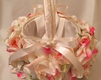 Flower Girl Basket Bridal Basket Wedding Basket Pink Ivory Roses