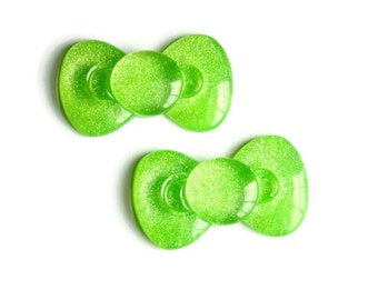Green Bow Cabochon, Large Flat Back Cabochon, Kawaii Decoden Supplies, Lime Green Glitter Resin 59mm