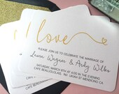 Beautiful Gold Script Wedding Invitation | Heart Script |  Blush Wedding | Pearl Shimmer Stock