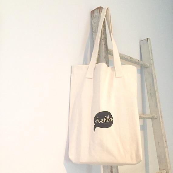 hello tote bag. hello speech bubble Library book bag. Cotton market bag. Sreen printed.