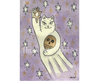 A Spirited Lucky Star - Ghost Cat with Skull - Choose from ACEO Print, Note Cards, or Art Print