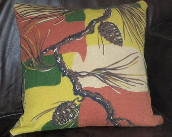 Vintage Pine Cone Barkcloth Pillow Cover Rustic Cabin Mid Century