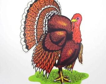 Vintage Turkey Die Cut Cardboard Thanksgiving Decoration by Beistle NOS