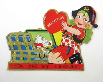 Vintage Mechanical Children's Novelty Valentine Greeting Card with Pirate Boy and Treasure Chest