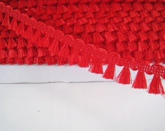 5 yards  Mini  Fringe Trim Tassel Trim  - Number 10 Bright Red