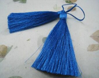4 Pieces of Long Silk Tassel  -  Cobalt Blue