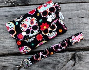 Wristlet Wallet Sugar Skulls size Small Made To Order