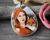 RESERVED for Sharon Beautiful Bohemian and fox in the wood - boho fused glass pendant -  wild necklace