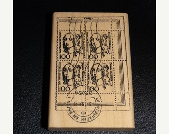 ON SALE Rubber Stamp, Ornate pattern,  Postage Stamp Rubber Stamp, French Postage, Holiday Card Stamp, 1861-N River City Rubber Works 2001