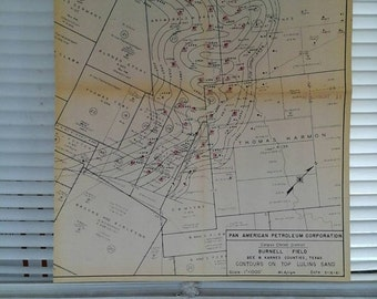 Valentines Day Sale 1961 Map , Oil Well, Pan American Petroleum , Corpus Christi District, Bee & Karnes Counties, Texas, Luling Sand, Texana