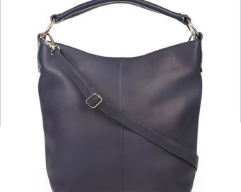 Leather Handbag, Hobo, Tote, Purse, Navy Blue